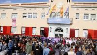 La concentració, ahir a la plaça de la Vila