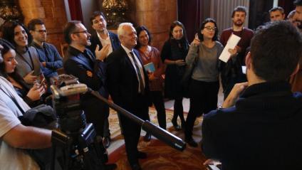 Els diputats després de la reunió amb Roger Torrent al Parlament