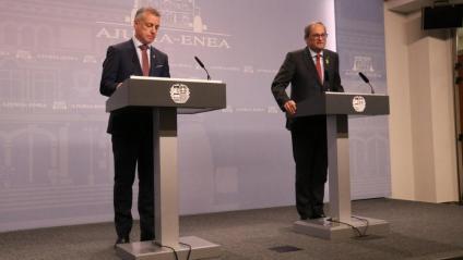 Roda de premsa dels presidents Urkullu i Torra després de la seva trobada