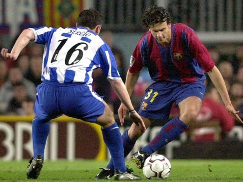 Motta i Sergio González, disputant la pilota en el Barça-Dépor del curs 2002/03