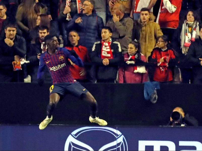 Dembélé, celebrant el gol que va marcar contra el Rayo Vallecano