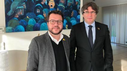 Aragonès i Puigdemont, ahir a la Casa de la República de Waterloo
