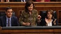 Sánchez, la vicepresidenta Calvo i la ministra Delgado, durant la sessió de control al govern de l'Estat ahir al Congrés