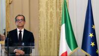 El ministre d'Economia italià, Giovani Tria, abans d'una roda de premsa ahir amb el president de l'Eurogrup celebrada a Roma