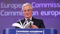 Michel Barnier durant la conferència de premsa, ahir a la Comissió Europea, a Brussel·les