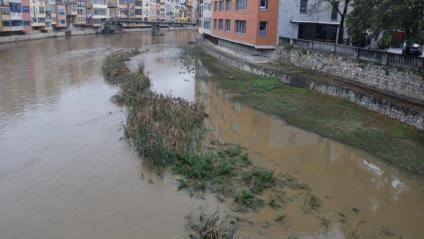 Vista del riu Onyar al seu pas per Girona durant les pluges d'aquest dijous