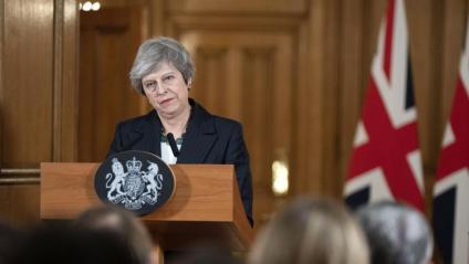 Theresa May, en la conferència de premsa, ahir a Downing Street