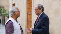 Muhammad Yunus conversant ahir amb el president Torra a Palau