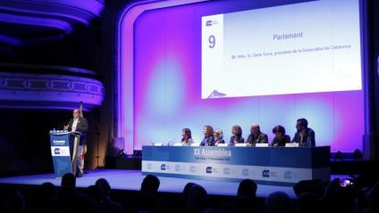 El president de la Generalitat, Quim Torra, durant la intervenció a l'assemblea de l'ACM