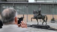 Estàtua decapitada de Franco, en l'exposició feta al Born, l'octubre del 2016
