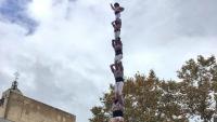 El pilar  de 8 que els Minyons de Terrassa van descarregar ahir a la plaça Vella en l'última gran actuació  de l'any casteller
