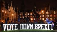 Manifestants anti-'Brexit', protestant ahir al costat del Parlament britànic a Londres