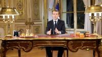 Macron, durant el seu discurs televisat d'ahir, després d'una altra setmana de protestes dels 'armilles grogues'