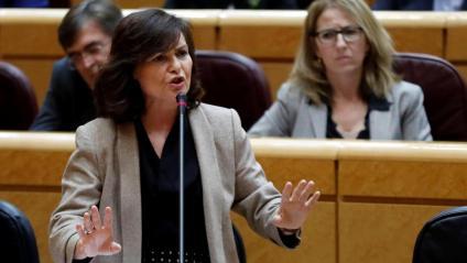 La vicepresidenta espanyola, Carmen Calvo, ahir durant la seva intervenció al Senat