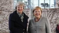 May i Merkel , a la seu de la cancelleria, ahir a Berlín