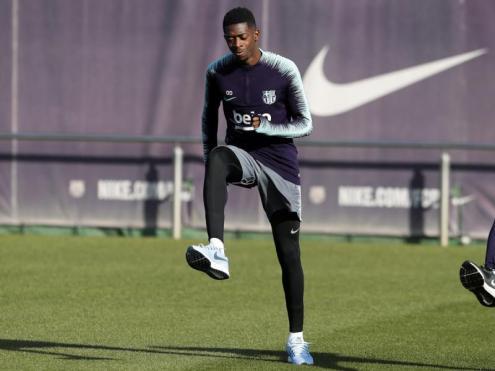 Ousmane Dembélé, en l'entrenament en solitari que va fer ahir a la ciutat esportiva