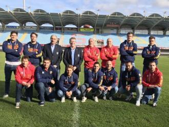 Els tècnics i jugadors renovats, ahir a l'Aimé Giral.