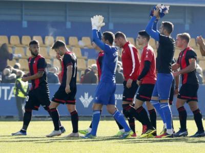 Els jugadors del Reus agraeixen el suport dels seguidors després del partit de diumenge a Alcorcón