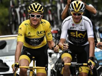 Thomas i Froome , a París durant la celebració del triomf del gal·lès en el Tour