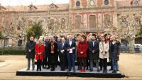 Iceta i Collboni acompanyats d'alcaldes i regidors del PSC