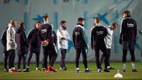 Ter Stegen, Coutinho, Arthur i Piqué, en l'entrenament d'ahir