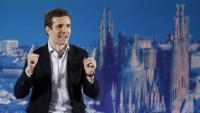Pablo Casado, ahir a Barcelona, durant la presentació dels candidats a les quatre capitals catalanes