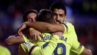Messi, Jordi Alba i Luis Suárez, celebrant el 0-3
