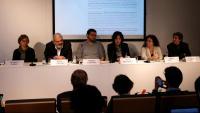 Representants de les entitats promotores, ahir al Col·legi de Periodistes