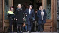 Rigau, Mas i Ortega, a la sortida del Tribunal Superior de Justícia de Catalunya, el febrer de l'any passat