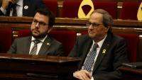 El vicepresident Argonès i el president Torra al ple d'aquest dimarts