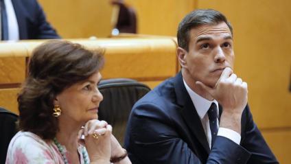 Carmen Calvo i Pedro Sánchez, al Senat