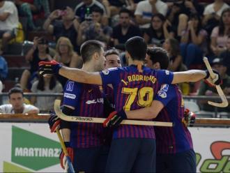 Els jugadors del Barça celebren un gol a l'Aldo Cantoni