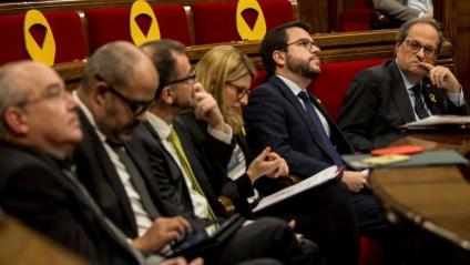 El president Quim Torra i els membres del Govern al Parlament