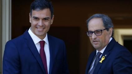 Els presidents Pedro Sánchez i Quim Torra, a la trobada celebrada al juliol
