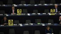 Imatge del cartells que han mostrat alguns dels eurodiputats