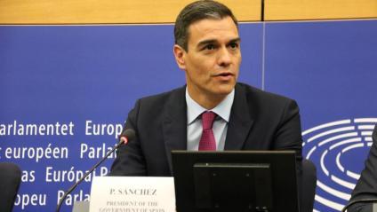 Pedro Sánchez a la roda de premsa posterior a la seva intervenció a l'Eurocambra
