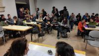 Les portaveus del SEPC i la Forja explicant ahir l'acció organitzada a la UdG