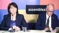La presidenta de l'ANC, Elisenda Paluzie, i el vicepresident de l'entitat, Pep Cruanyes