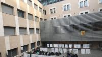 L'assemblea que els alumnes van fer ahir al matí a la Facultat d'Educació de la Universitat de Girona (UdG)