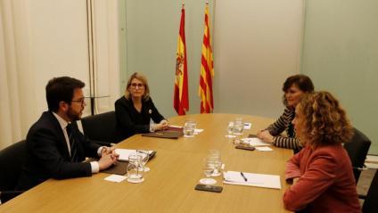 Aragonès i Artadi, amb Calvo i Batet, al desembre a Pedralbes. En la cita d'ahir, sense Batet, no hi va haver fotografia