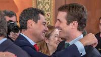 Moreno rep la felicitació de Pablo Casado en presència de la presidenta del Congrés