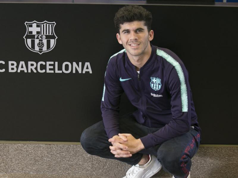 Carles Aleñá, a la sala de premsa de la Ciutat Esportiva Joan Gamper