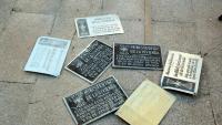 Les set plaques franquistes retirades durant l'acció organitzada per les entitats tarragonines i la CUP a Tarragona