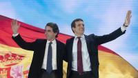 Aznar i Casado, ahir en la segona jornada de la convenció del PP al recinte firal d'Ifema de Madrid, on la vigília havia participat Mariano Rajoy
