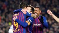Messi, Malcom i Suárez celebren el gol de l'uruguaià contra el Leganés