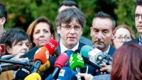 Carles Puigdemont parla amb els mitjans a Waterloo