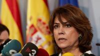 La ministra de Justícia, Dolores Delgado, en la seva visita a Barcelona, ahir