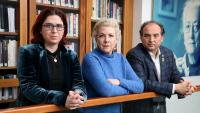 Gregori, Clement i Torner , ahir, a l'Ateneu Barcelonès abans de presentar el comunicat del PEN Internacional