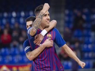 Aicardo celebra el seu gol ahir al Palau Blaugrana