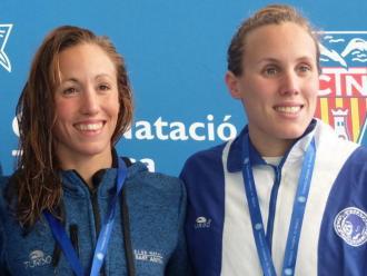 Jessica Vall i Marina Garcia , en el podi de 50 m braça, es van intercanviar les posicions dels 200 m braça